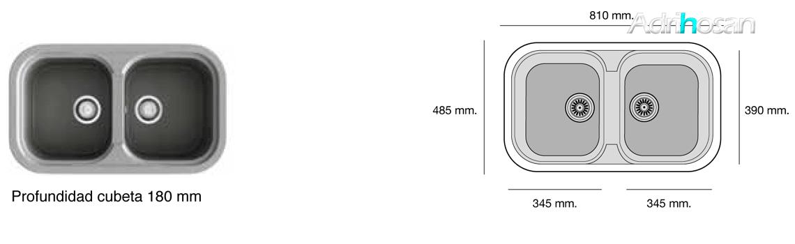 Fregadero sintético Basic Esmeralda brillo sobre encimera Poalgi Adrihosan