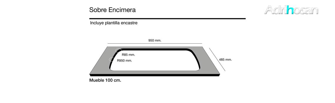 Fregadero sintético Basic Onice brillo sobre encimera Poalgi Adrihosan
