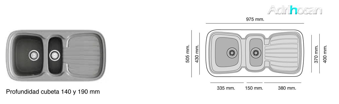 Fregadero sintético Basic Opalo brillo sobre encimera Poalgi Adrihosan