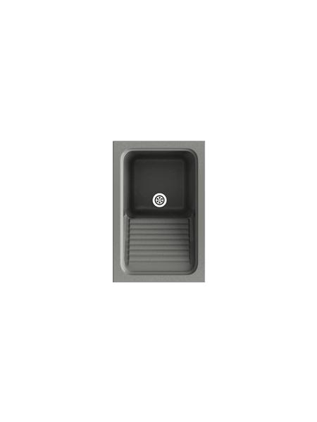 Fregadero sintético Basic Silex brillo sobre encimera Poalgi Adrihosan