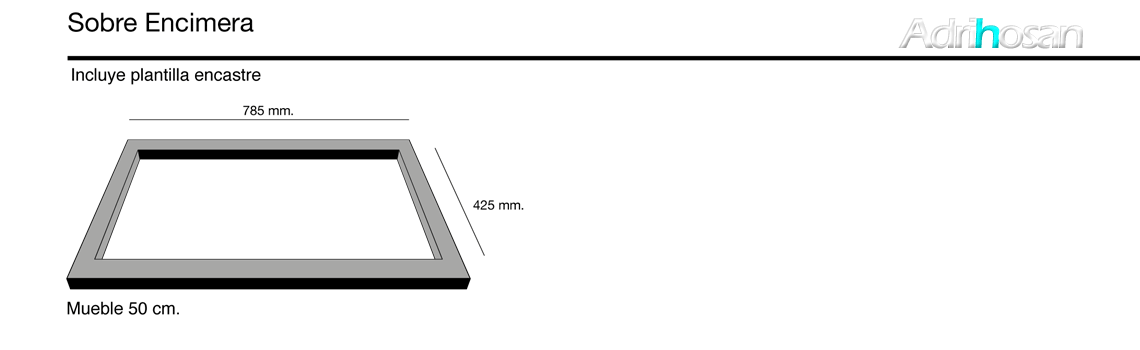 Fregadero sintético Basic Topacio brillo sobre encimera Poalgi Adrihosan