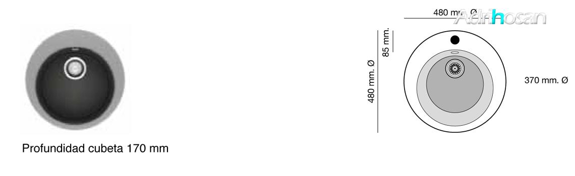 Fregadero sintético Basic Zafiro brillo sobre encimera Poalgi Adrihosan