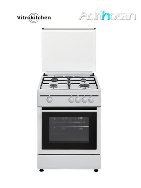 Cocina de gas Elegance blanca 60x60 cm CB60B Gas butano o natural Vitrokitchen