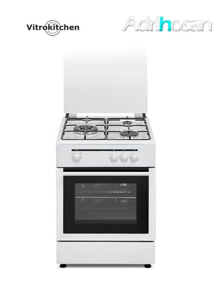 Cocina de gas Elegance blanca 50x55 cm CB553 Gas butano o natural Vitrokitchen