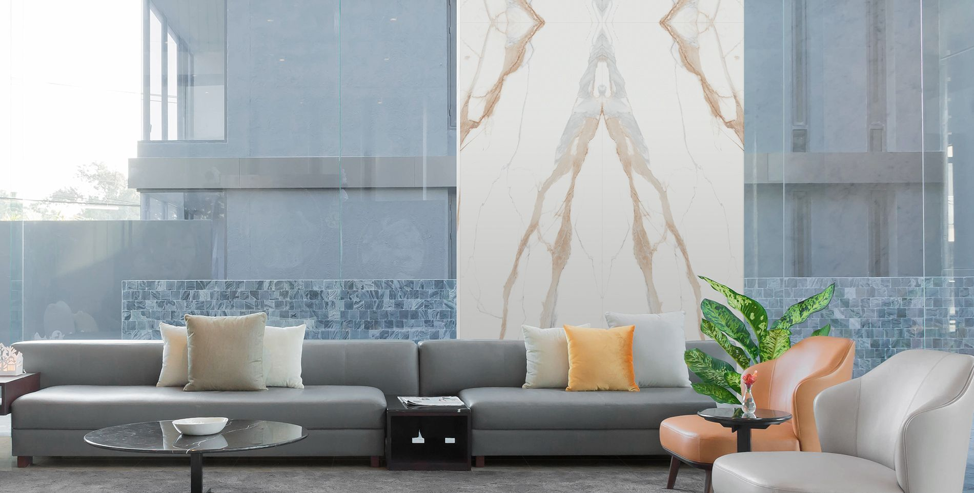 Lámina porcelánica gran formato poco espesor Techlam Stone Collection Marvel Gold