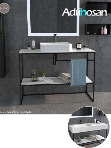 Mueble de baño metálico a suelo negro andros (estructura metálica negra)