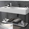 Mueble de baño metálico suspendido negro atenas (estructura negra) | Adrihosan