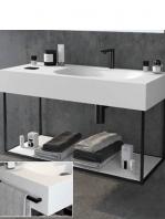 Mueble de baño metálico suspendido negro atenas (estructura negra)   Adrihosan