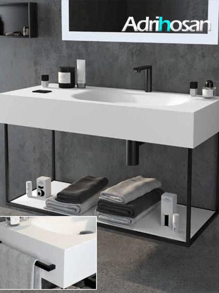 Mueble de baño metálico suspendido negro atenas (estructura metálica negra)