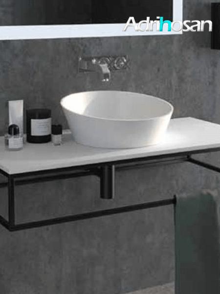 Mueble de baño metálico suspendido negro corfu 800x450x175 (estructura metálica negra)
