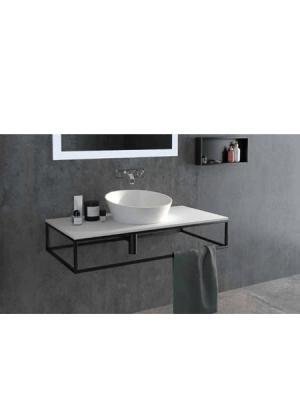 Mueble de baño metálico suspendido negro corfu 800x450x175