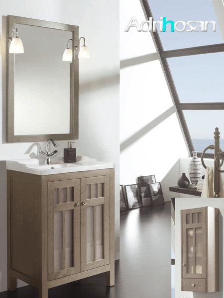 Mueble de baño rústico Libra 2 puertas cristal opaco 60 cm (mueble + lavabo + espejo)