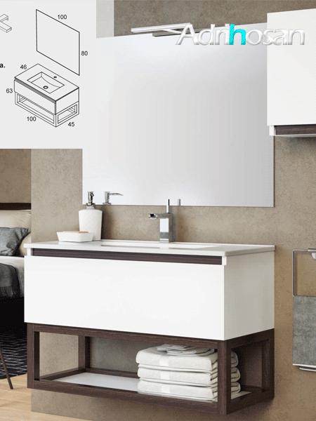 Mueble de baño suspendido 1 cajón Tiza 100 cm (mueble + lavabo + espejo)