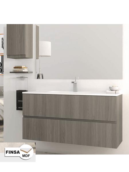 4083e7b49c8b Mueble de baño suspendido 2 cajones Luxe 80 cm (mueble + lavabo + espejo)