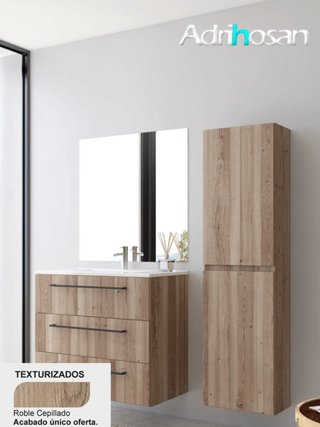 Mueble de baño suspendido 3 cajones Lido 80 cm (mueble + lavabo + espejo)