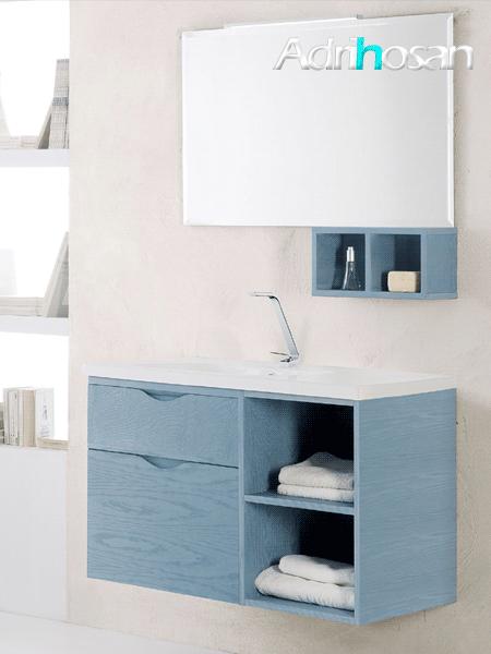 Mueble de baño, composición Nova 4 100 cm Fresno natural tablero marino
