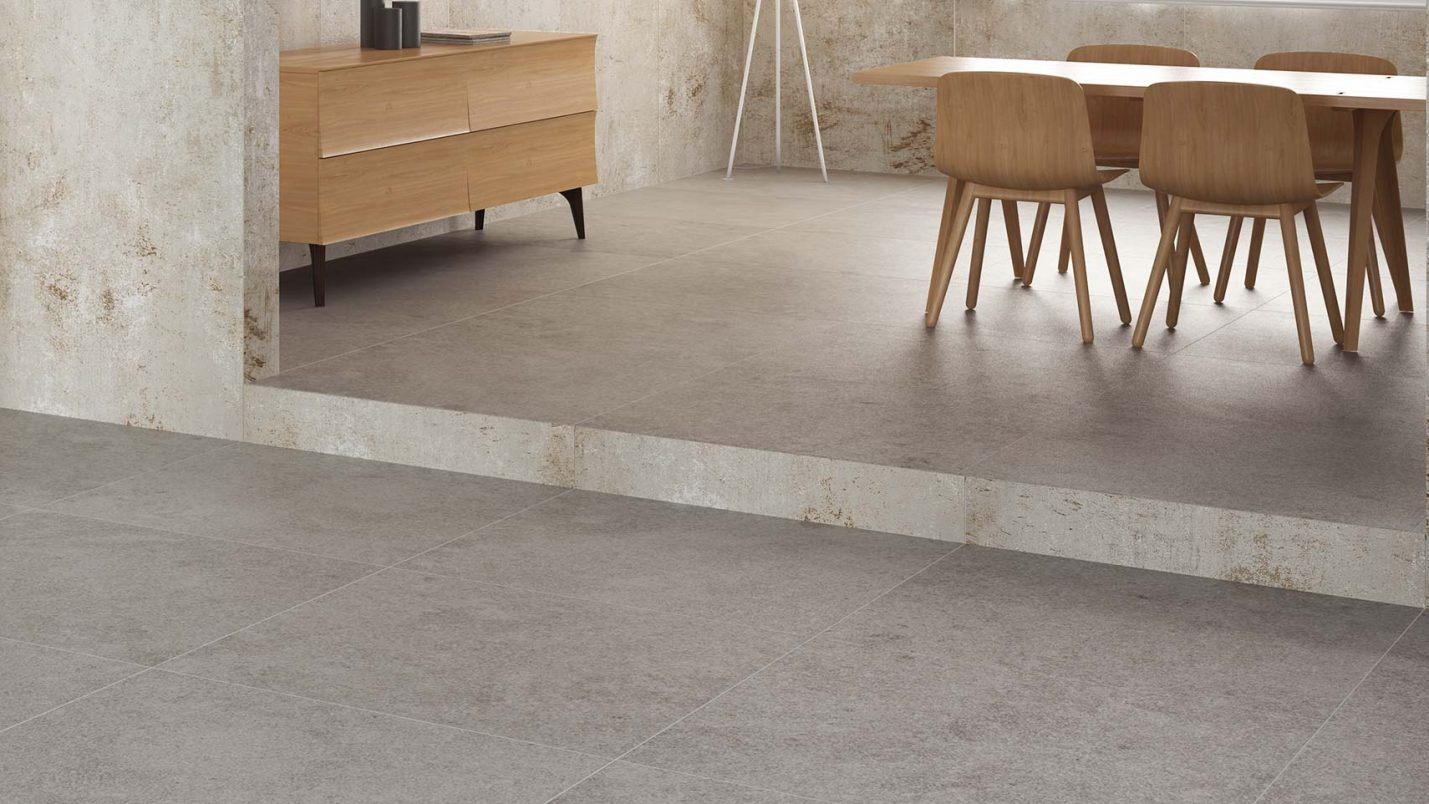 Lámina porcelánica gran formato poco espesor Techlam Vulcano Collection Concrete