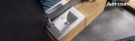 Lavabo cerámico rectangular SONIM 550 x 350 x 100 cm blanco