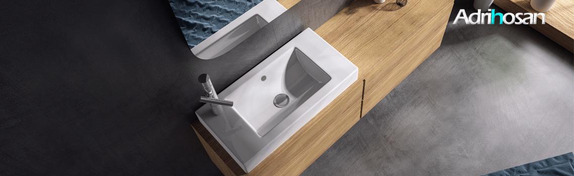 Lavabo cerámico rectangular SONIM 550 x 350 x 100 cm blanco | Adrihosan