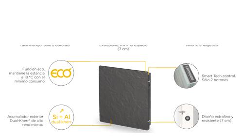 Radiador eléctrico Silicium Smart 50x50 cm tecnología Dual kherr