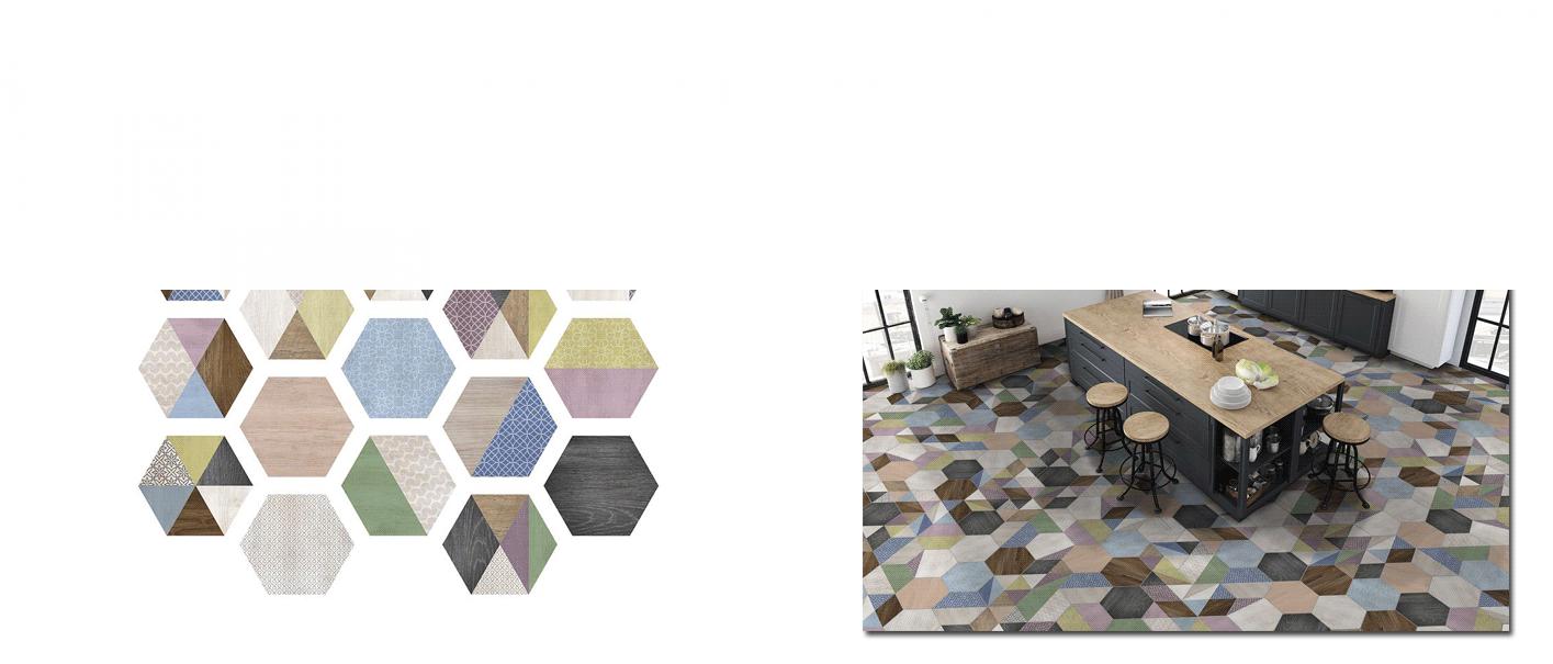 Azulejo hexagonal decorado porcelánico Art Decó 23x27 cm