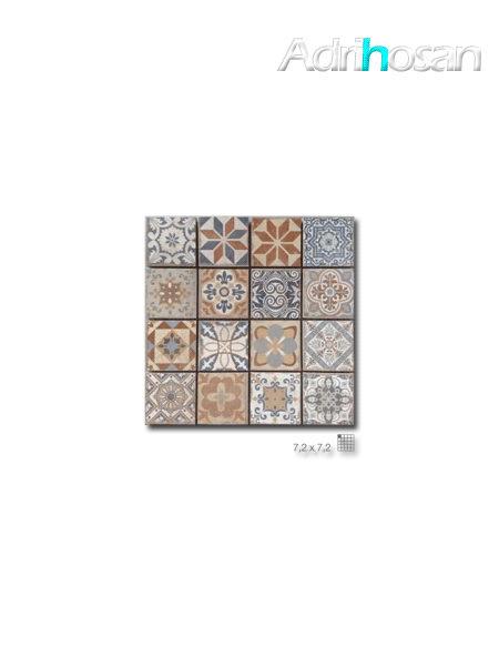 Azulejo porcelánico enmallado Antic 29 x 29 cm tesela de 7.2 x 7,2 cm (venta por mallas)