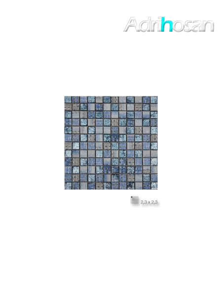 Azulejo porcelánico enmallado Arte celeste 30 x 30 cm tesela de 2.3 x 2.3 cm (venta por mallas)
