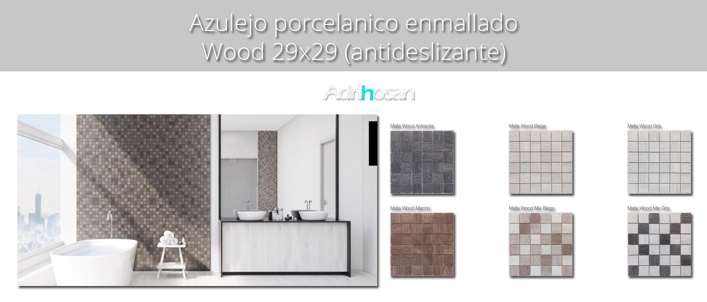 Azulejo porcel nico enmallado wood marr n 29 x 29 cm for Azulejo porcelanico
