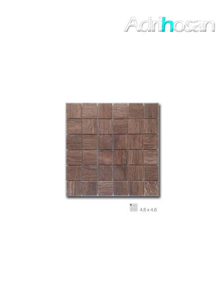 Azulejo porcelánico enmallado Wood marrón 29 x 29 cm tesela de 4,6 x 4,6 cm (venta por mallas)