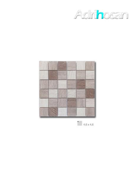 Azulejo porcelánico enmallado Wood mix beige 29 x 29 cm tesela de 4,6 x 4,6 cm (venta por mallas)