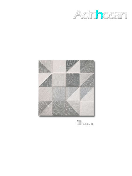 Azulejo porcelánico enmallado Collage gris 32 x 32 cm tesela de 7,8 x 7,8 cm (venta por mallas)