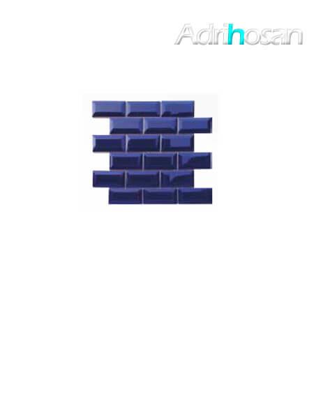 Azulejo tipo metro enmallado azul brillo 10 x 5 cm en mallas de 30.5x30.5 cm (venta por mallas)