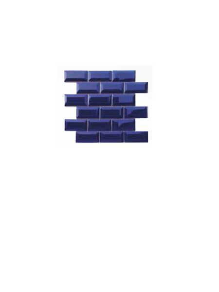 Azulejo tipo metro enmallado azul brillo 10 x 5cm en mallas.