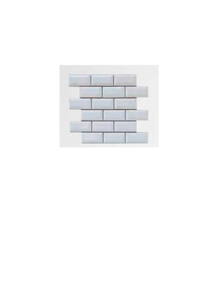 Azulejo tipo metro enmallado blanco brillo 10 x 5cm en mallas de 30.5x30.5 cm (venta por mallas)