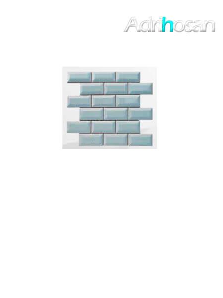 Azulejo tipo metro enmallado gris claro brillo 10 x 5 cm en mallas de 30.5x30.5 cm (venta por mallas)