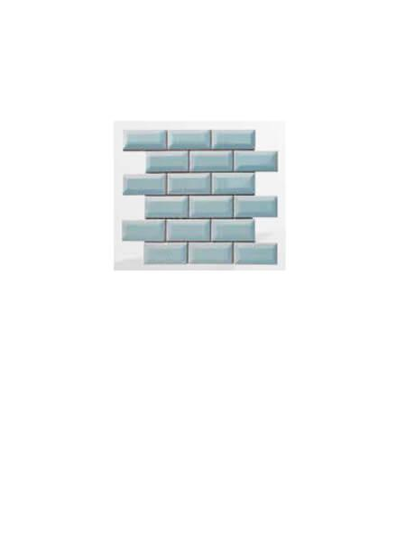 Azulejo tipo metro enmallado gris claro brillo 10 x 5cm en mallas.