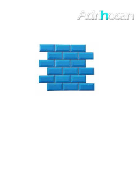 Azulejo tipo metro enmallado mar brillo 10 x 5 cm en mallas de 30.5x30.5 cm (venta por mallas)