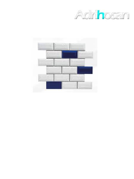 Azulejo tipo metro enmallado mix azul brillo 10 x 5 cm en mallas de 30.5x30.5 cm (venta por mallas)