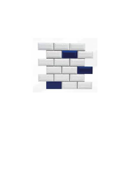 Azulejo tipo metro enmallado mix azul brillo 10 x 5 cm en mallas.