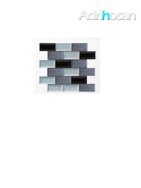 Azulejo tipo metro enmallado mix grises brillo 10 x 5 cm en mallas de 30.5x30.5 cm (venta por mallas)