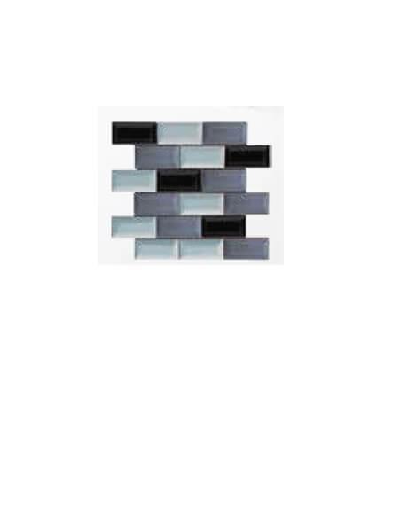 Azulejo tipo metro enmallado mix grises brillo 10 x 5 cm en mallas.