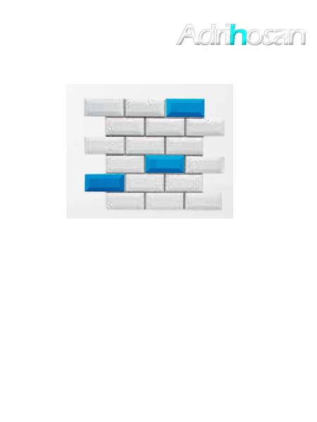 Azulejo tipo metro enmallado mix mar brillo 10 x 5 cm en mallas de 30.5x30.5 cm (venta por mallas)