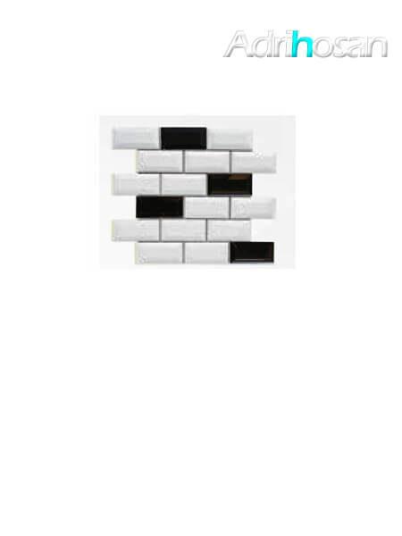 Azulejo tipo metro enmallado mix negro brillo 10 x 5 cm en mallas de 30.5x30.5 cm (venta por mallas)
