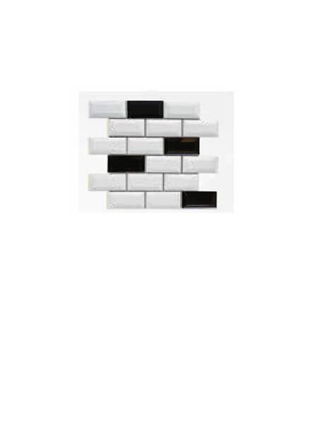 Azulejo tipo metro enmallado mix negro brillo 10 x 5 cm en mallas.