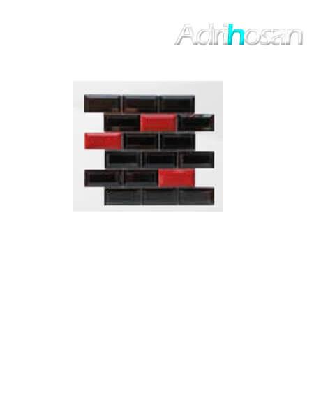 Azulejo tipo metro enmallado mix negro-rojo brillo 10 x 5 cm en mallas de 30.5x30.5 cm (venta por mallas)