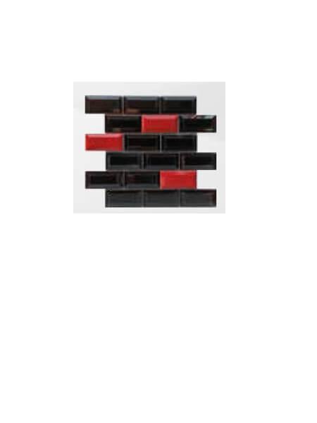 Azulejo tipo metro enmallado mix negro rojo brillo 10 x 5 cm en mallas.
