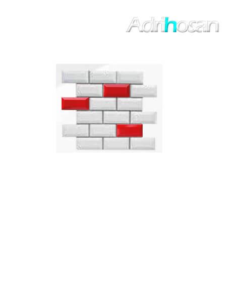 Azulejo tipo metro enmallado mix rojo brillo 10 x 5 cm en mallas de 30.5x30.5 cm (venta por mallas)