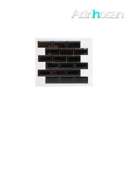 Azulejo tipo metro enmallado negro brillo 10 x 5 cm en mallas de 30.5x30.5 cm (venta por mallas)