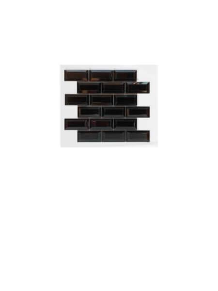 Azulejo tipo metro enmallado negro brillo 10 x 5cm en mallas.