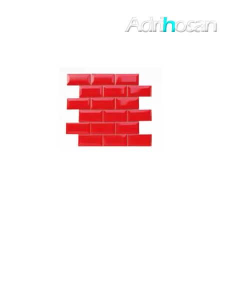 Azulejo tipo metro enmallado rojo brillo 10 x 5 cm en mallas de 30.5x30.5 cm (venta por mallas)